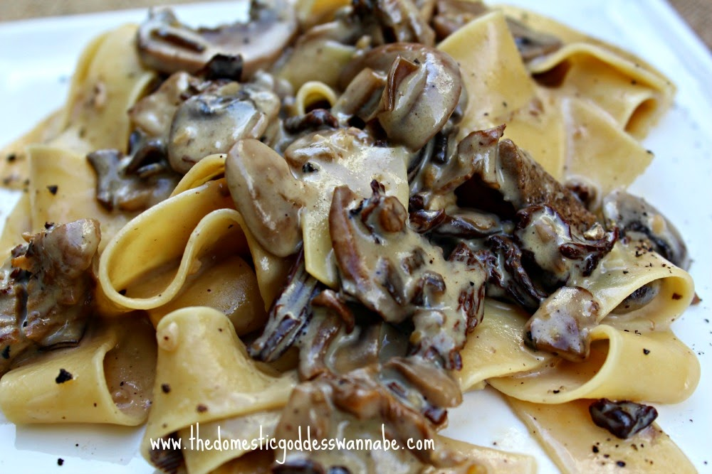 pappardelle with creamy mushroom sauce the domestic goddess wannabe