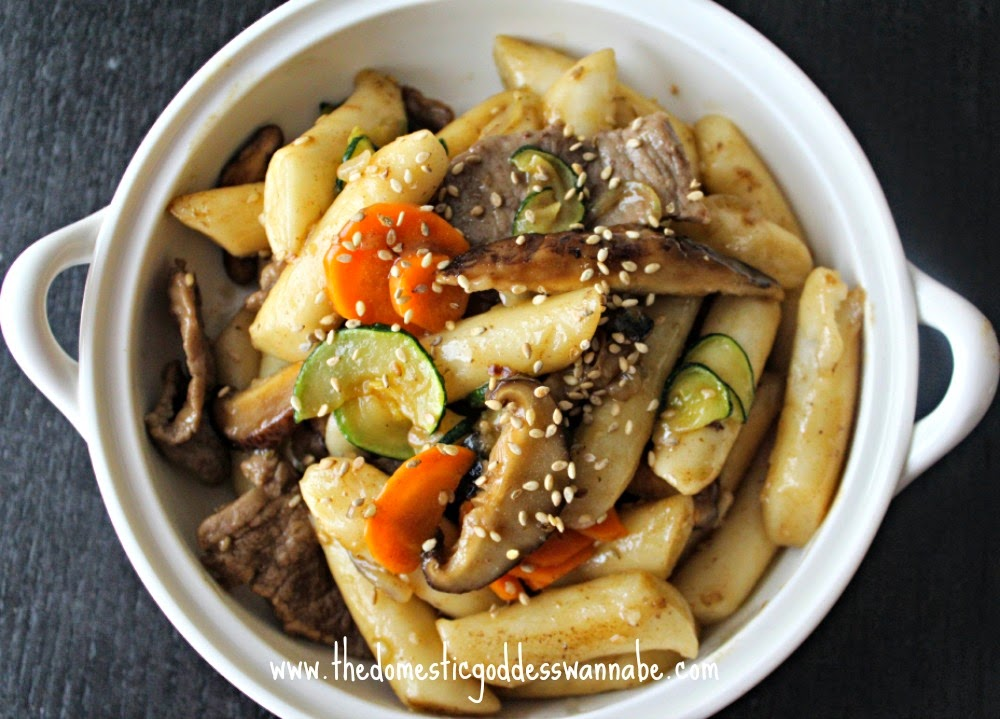 Gungjung Tteokbokki Korean Stir Fried Rice Cake With Beef And Vegetables The Domestic Goddess Wannabe