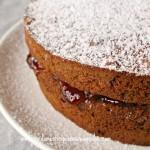 chocolate victoria sponge with raspberry and cream layers