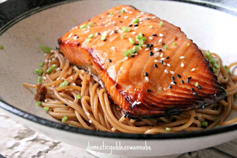 sesame noodles with grilled miso-glazed salmon | The ...