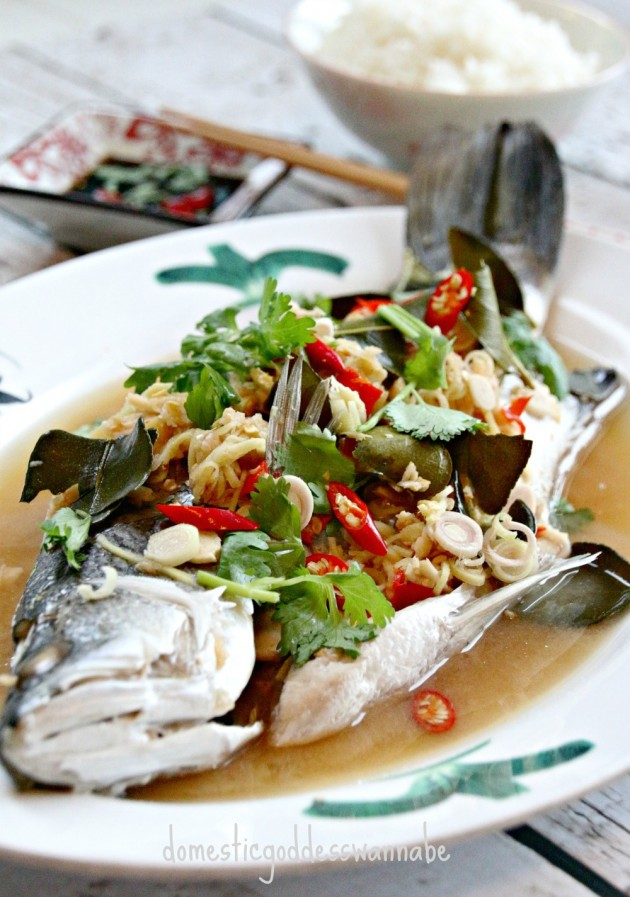 Steamed fish with ginger and lemongrass for Steamed fish recipes