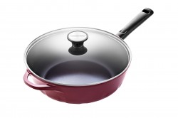 30cm Wok Pan Red w glass lid